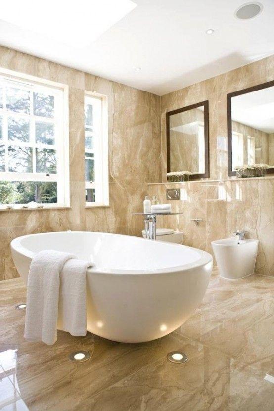 48 Wonderful Marble Bathroom Designs : 48 Luxurious Marble Bathroom Designs  With Brown Bathroom Wall Bathtub