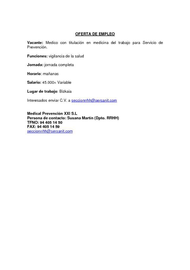 OFERTA DE EMPLEO MEDICO ESPECIALISTA MEDICINA DEL TRABAJO BIZKAIA GIPUZKOA