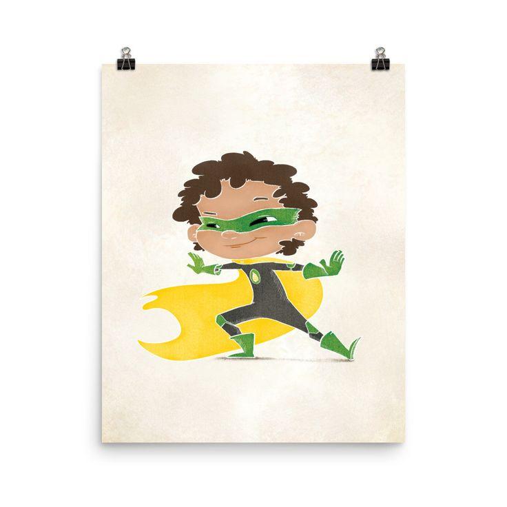 Superhero Nursery Print – Green Flash Boy