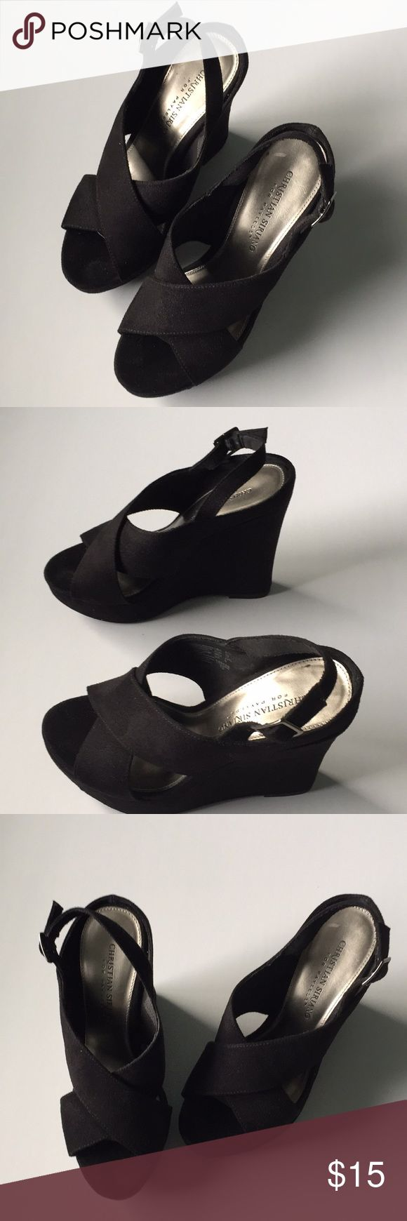 """Christian Siriano  black wedges open toe sz 6.5 Christian Siriano for payless black platform wedges open toe size 6.5. Black suede. Sexy.  5"""" inch heel.   Size 6.5 usa,  euro is 38  Used once in a party  Item loc posh 1 Shoes Wedges"""