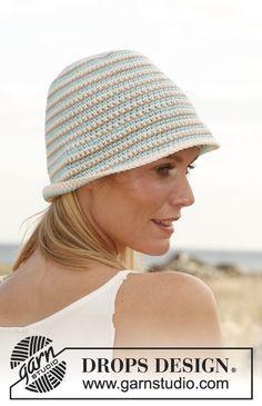 """Sombrero DROPS, en ganchillo / crochet, con franjas en """"Paris"""". ~ DROPS Design"""