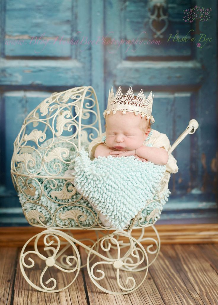 Would LOVE a baby picture like this! So cute!! Baby crown! Newborn vintage cream lace Princess Crown by HushaByeCreations