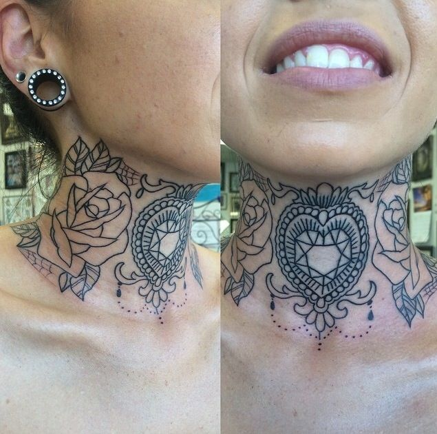 Thee most beautiful throat/neck tattoo I've ever seen  want!!! artist ig: @candeeo