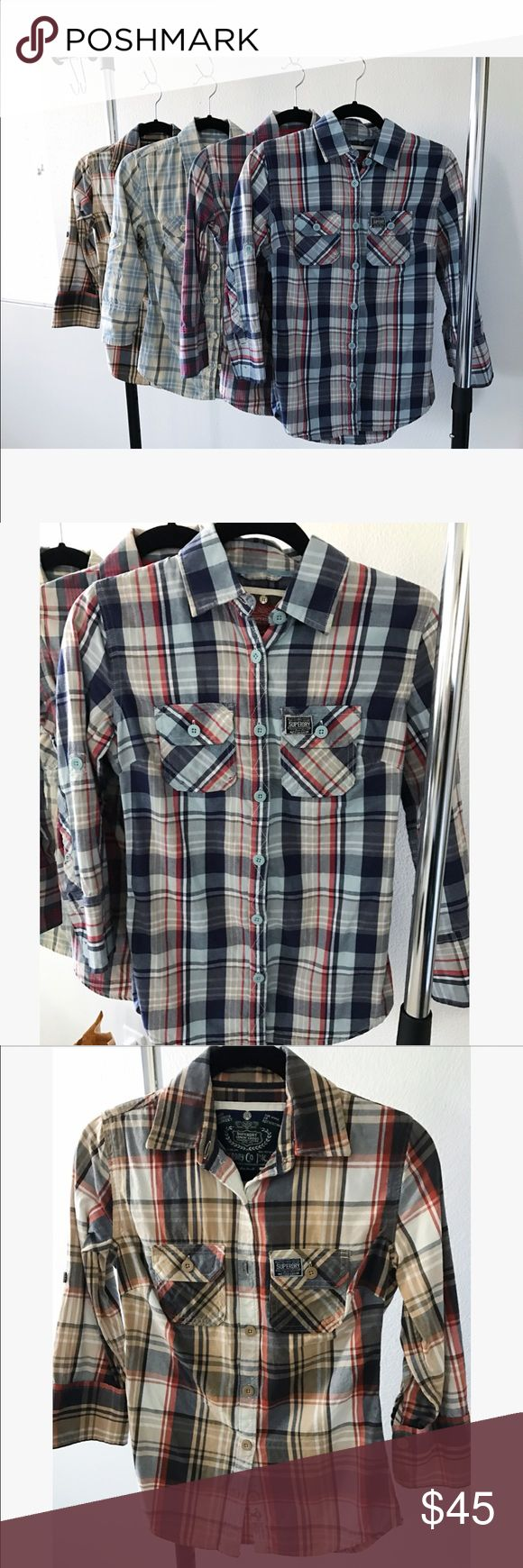 Superdry BUNDLE 4 Plaid Shirts Small Selling bundle of 4 Superdry Plaid button down shirts. All size small. Like new condition. Superdry Tops Button Down Shirts