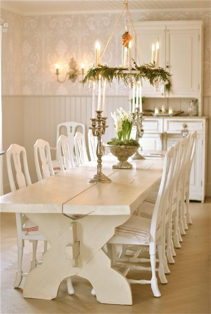 Beautiful swedish style dining table and decor