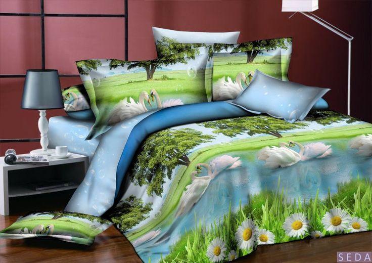 Постельное белье, поплин 3d, голубое, арт. pl-05 Комплект голубое - зеленое - белое постельное белье из поплина. Эффект 3d. Рисунок: птицы, лебеди, цветы, ромашки, природа, деревья. 4 размера - комплектации. Выберите нужный Вам размер и положите его в Вашу корзину!