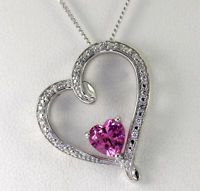 Michael Hill Jewelers Sterling Silver Created Pink Sapphire CZ Heart Necklace