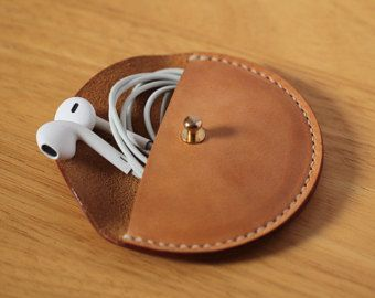 Leather Earphone case Cable organizer by LeatherWorldHandmade