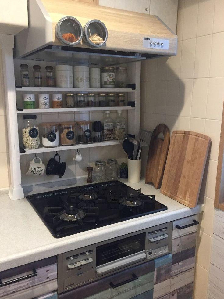 キッチンの収納が少ないわけではないのですが、やはり自分の使いやすいキッチンが理想!料理をしていてパッと調味料が取れる、尚且つ見た目も大事なので、それを意識してDIYしました。