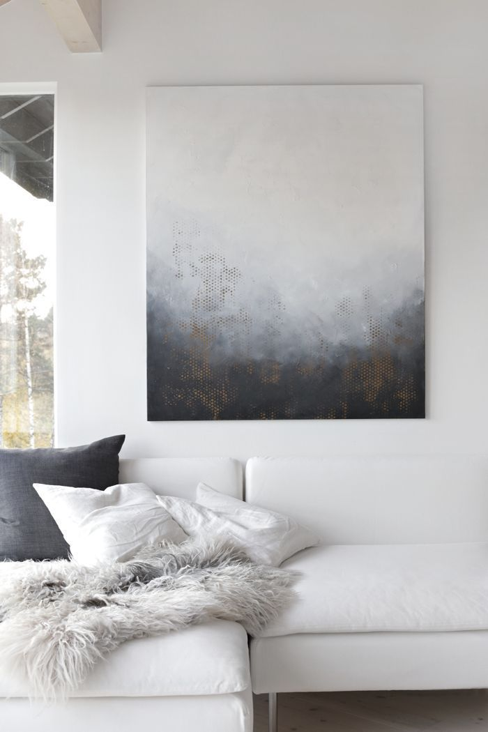 This white and grey piece of wall art is so simple, yet so stunning. Against a backdrop of white in this living room, it really stands out and is something that perhaps you could even make yourself. A great addition to any stylish interior.