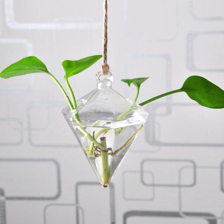 Diamond Glass Terrarium Hanging Vase