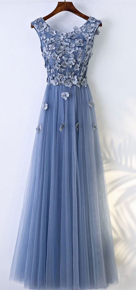 d9c9d64b5c94 elegant blue tulle prom dress with flower appliques, fashion crew long  party dress with appliques