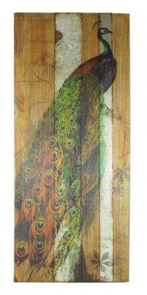 Peacock Metal Strip Wall Art
