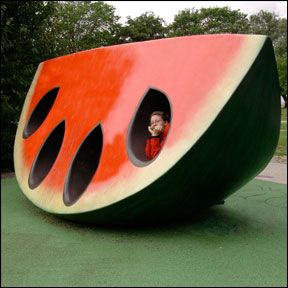 HOT - Orange you glad you came out? - by designing a playground with two pairs of cherry swings, a watermelon jungle gym, an orange see-saw, the Fruit and Scent playground in Lijeholmen, Sweden teaches kids the importance of fruit over junk food, fighting fat with fun