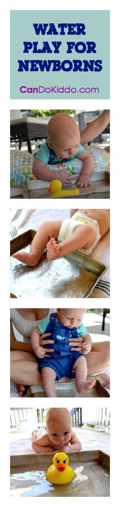 Ideas for different ways to help newborns enjoy water play :: tummy time, sensory play, baby activities