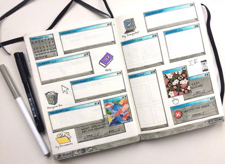 Decided to redo my windows 98 inspired thread! : bulletjournal