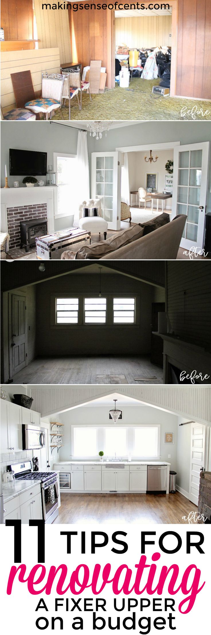 Here is how to save money when renovating a fixer upper - an abandoned 115 year old house. Renovating on a budget, fixer upper homes, is possible! #fixerupper