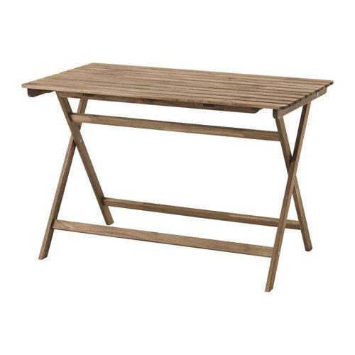 IKEA - ASKHOLMEN, Table, extérieur, La table se replie à plat et prend donc peu de place.Pour accroître sa résistance et que vous puissiez apprécier l