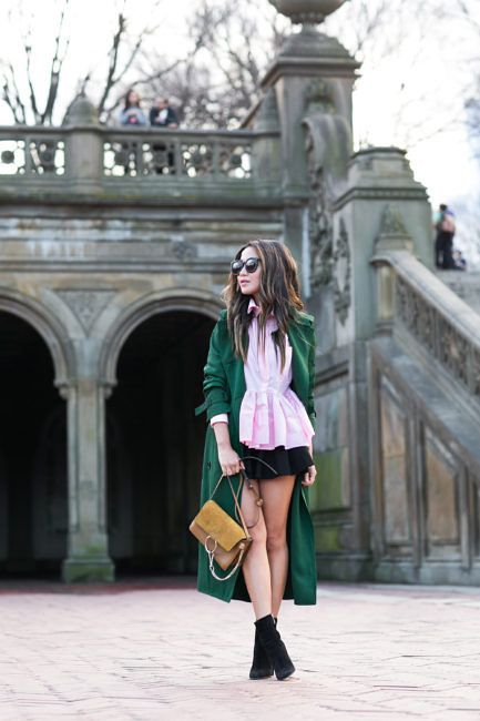 Spring Colors :: Green maxi trench & Pink peplum