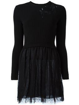 Langärmeliges Kleid mit Paillettenapplikation