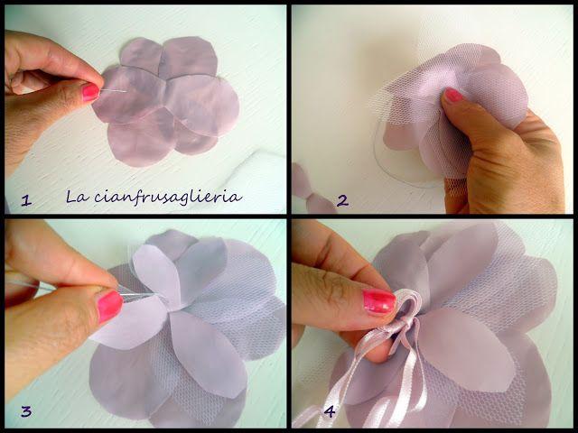 Fiori di tulle e chiffon: http://lacianfrusaglieria.blogspot.it/2012/09/fioridarancio-flower-power.html