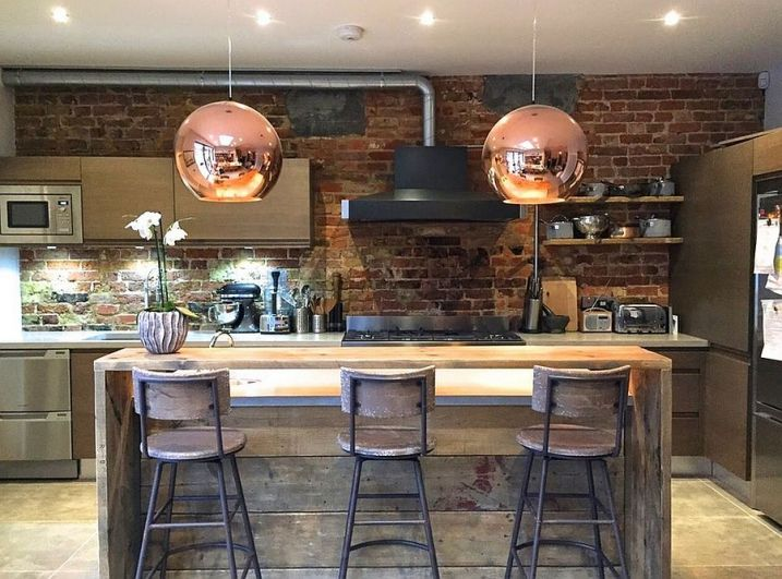 cuisine industrielle avec murs briques - Cuisine Industriel Vintage
