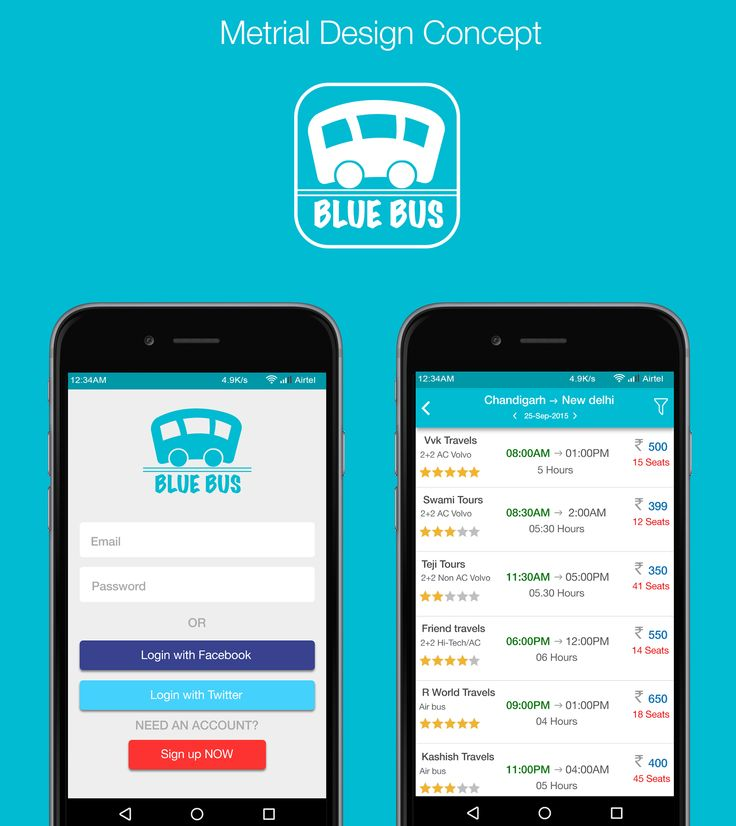 "Behance :: Material design Android ""Blue Bus"" by vvk swami"