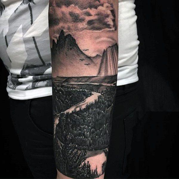 90 Paisaje Tatuajes Para Los Hombres Ideas De Diseno Escenico Diseno Escenic Tatuaje De Paisaje Tatuajes De Manga Del Antebrazo Mejores Tatuajes De Manga