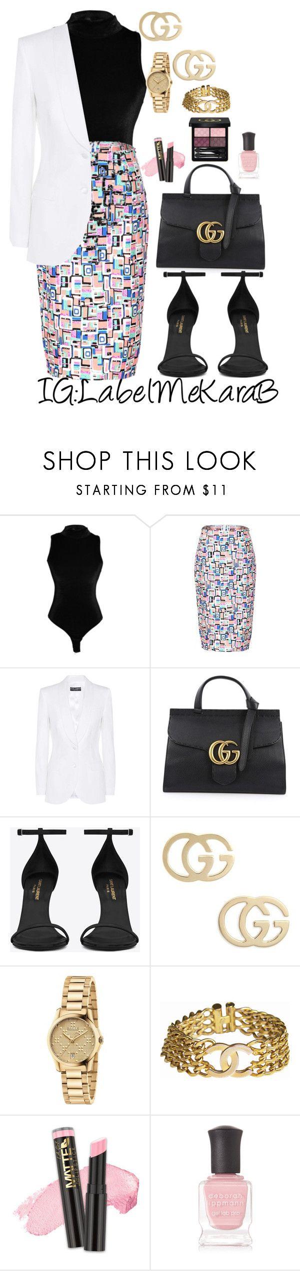 """KB062"" by labelmekarab on Polyvore featuring Dolce&Gabbana, Gucci, Yves Saint Laurent, Chanel, L.A. Girl, Deborah Lippmann, Pink, YSL, gucci and LabelMeKaraB"