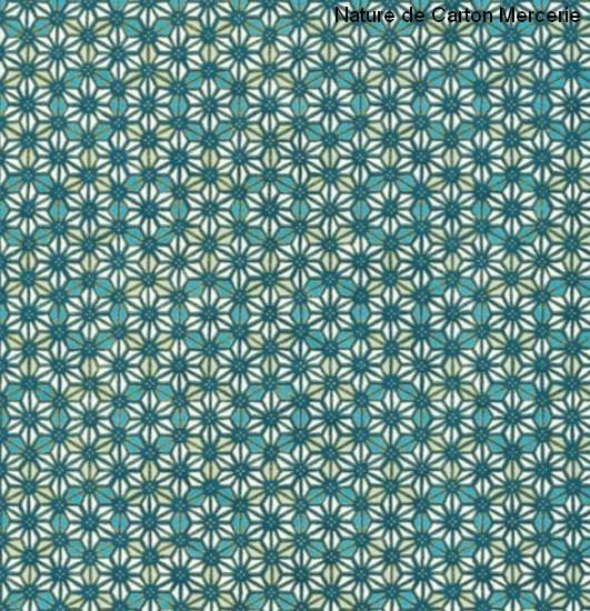 Papier japonais Yuzen - Sérigraphie feuilles de chanvres graphique, étoile, bleu - Stock limité : Origami par nature-de-carton