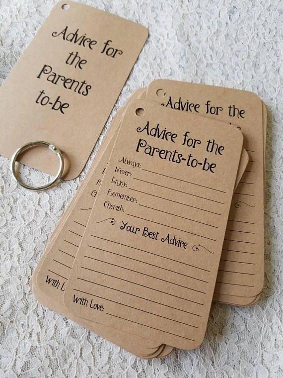 Satz von 12 Babyparty-Ratschlag-Umbauten kardiert, damit die Mama / Ratschlag für werdende Mama / werdender Vati / werdende Eltern / Vintag rustikal ist