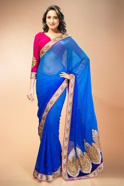 Sarees,Admyrin,Blue Chiffon Shaded Saree With Pink Velvet Blouse Piece