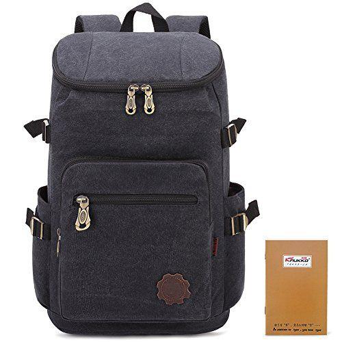 0921127d5639 KAUKKO Durable Stylish Canvas Backpack Lightweight Travel Hiking ...