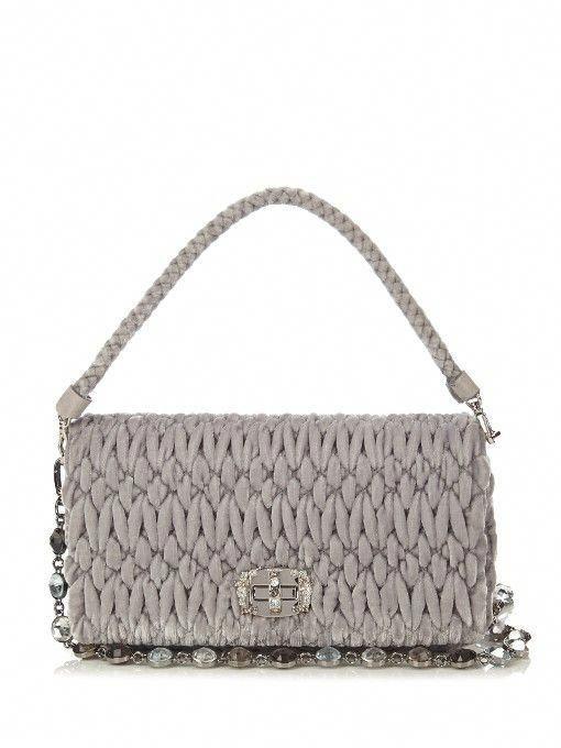 abf6e9bf50e7 MIU MIU Embellished Quilted-Velvet Shoulder Bag.  miumiu  bags  canvas