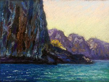 Soft pastel painting of a view while approaching Phi Phi Leh in Thailand.  By Manju Panchal www.charcoalspastelsandmore.blogspot.in