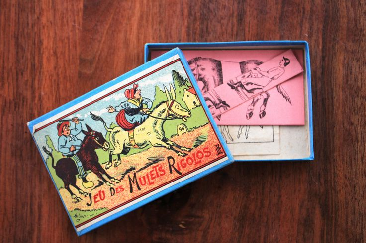Antique French victorian puzzle/brain teaser game : game of the funny mules! by LaChineuseFrancaise on Etsy