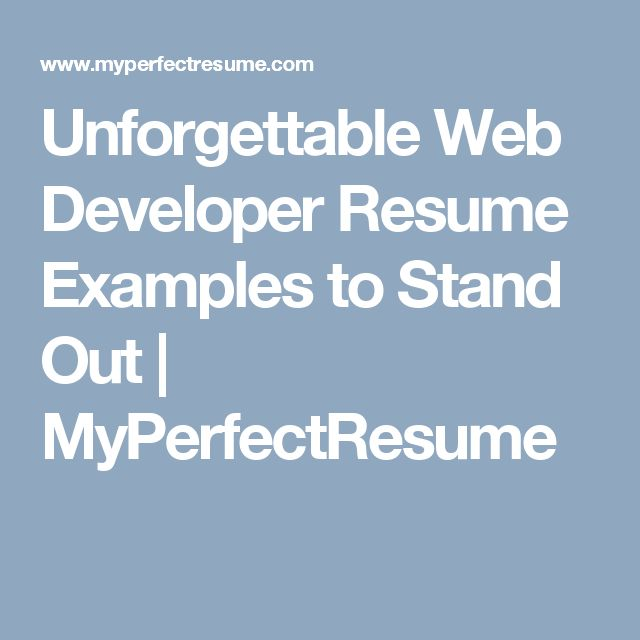 Best  Web Developer Resume Ideas On   All The Web