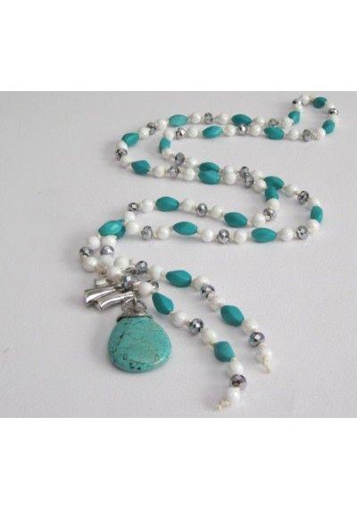turqoise shade handmade rozario pendant with turqoise stone