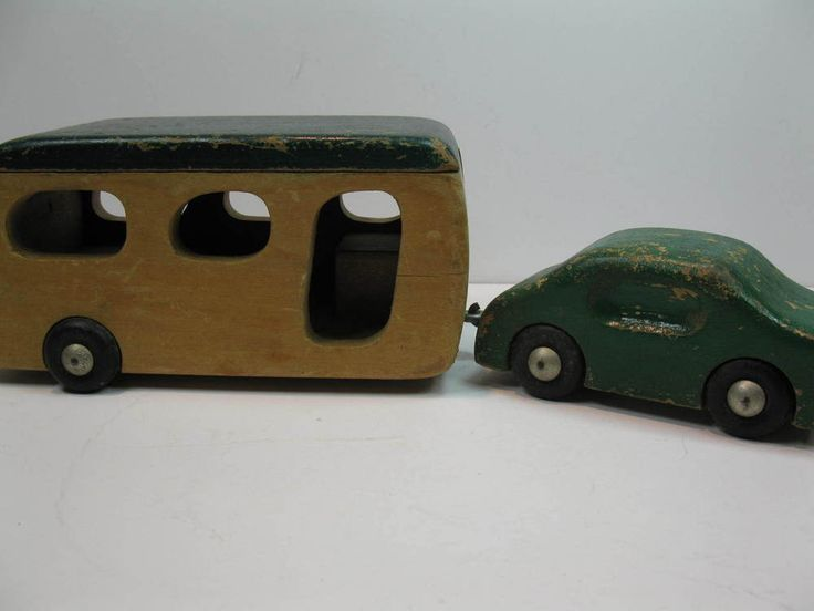 Vintage Creative Playthings Wood Wooden Camper Trailer and Car Set rare #CreativePlaythings