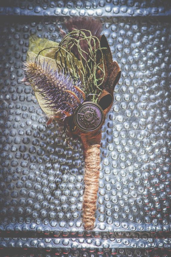 Men's Vintage Unique Thistles Celtic Buttonhole by MeadowMenagerie