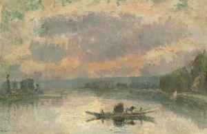 Le Bac à la Bouille, au coucher du soleil - (Albert Charles Lebourg)