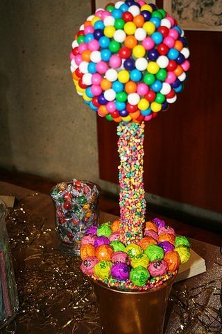 WOW Guests with Topiaries - Gumball Candy Topiary - mazelmoments.com