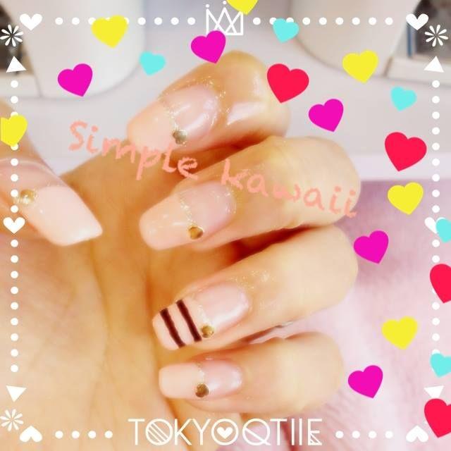 シンプルだけど可愛いネイル|Lovely Nail although it is simple.   (コロコロスタンプ/フレーム/テキスト) iPhone:https://itunes.apple.com/jp/app/qtiie.jp/id687208189