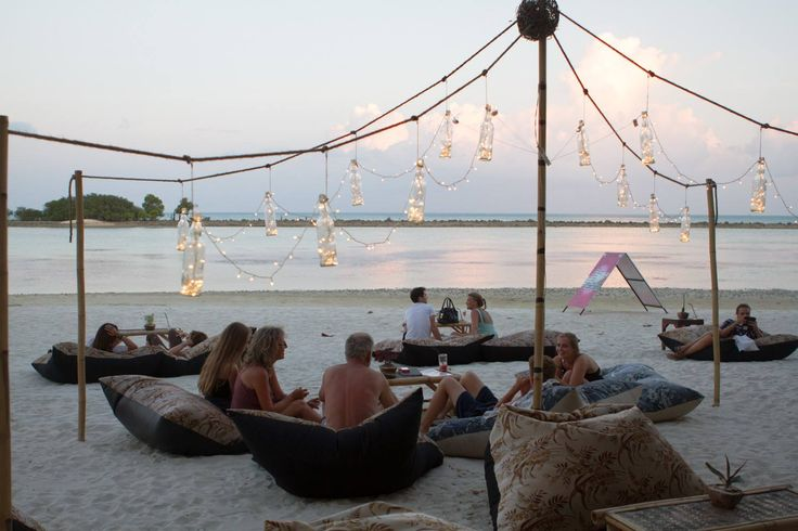 Chill Chill on bean bags on the beach at Mini Bar, Chaweng Beach, Koh Samui, Tha…