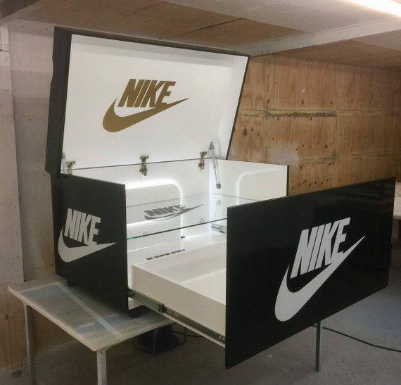 New Design Glass Shelf And Led Lights Giant Shoe Box Trainer Box Storage Chest Muebles Centro De Entretenimiento Muebles Para El Hogar Muebles De Carpinteria