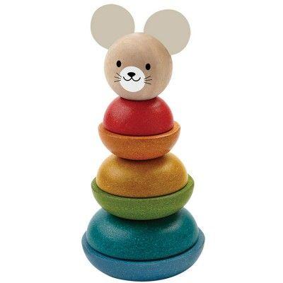 Avec ce jouet souris à empiler de la marque Plan Toys l'enfant s'amuse à empiler les formes en fonction des tailles et des couleurs. Un jouet conçu dans le respect de l'environnement.