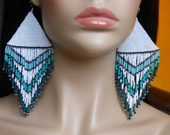 Native American Earrings Inspired. White Turquoise Green and