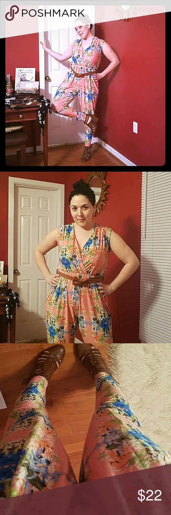 UK2LA Adorable Spring Romper! PINK Floral jumper with tie back. Very forgiving and perfect for Valentines Day! Polyester Spandex mix. UK2LA Pants Jumpsuits & Rompers