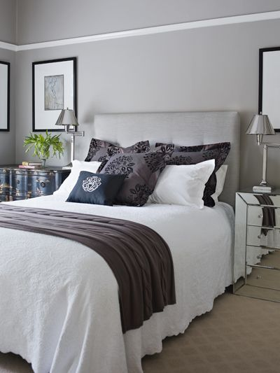 As seen in Home Beautiful (AUS)   Styling by Wendy Bannister   Photography by Lisa Cohen: Grey Bedrooms, Guest Bedrooms, Color, Grey Wall, Master Bedrooms, Bedside Tables, Guest Rooms, Gray Bedrooms, Bedrooms Ideas