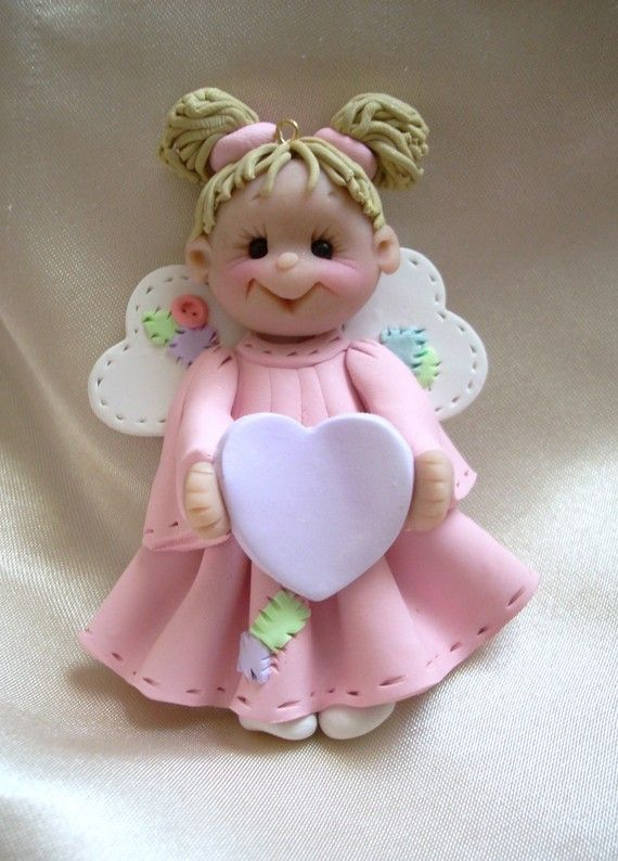 polymer clay christmas angel ornament child by clayqts on Etsy, $13.95 okay I need these....